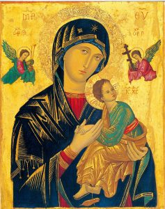 Icon of the Theotokos. Expect to see at least one of these in every Orthodox Church.