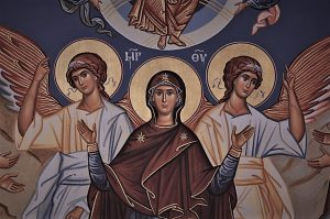 An icon containing the Virgin Mary, or Theotokos.