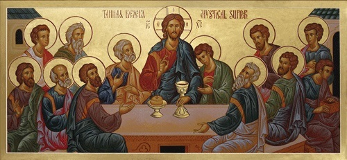 Apostles receiving Holy Communion at the Last Supper.