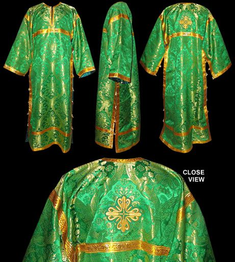 Green baptismal robe or sticharion for Orthodox deacons.