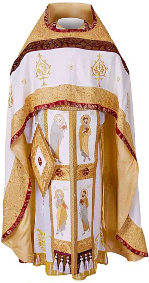 White Russian style phelonion, a vestment for Orthodox priests.