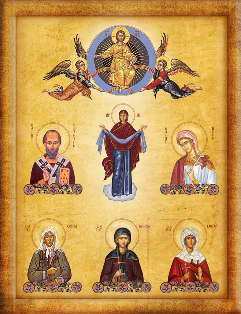 Icon of all the patron saints in an Orthodox family